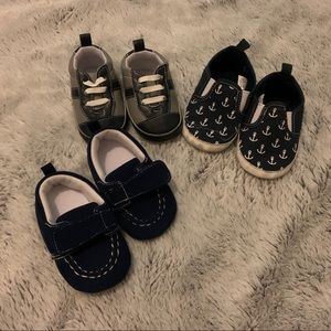 Lot of 3 Baby Boy Infant Shoes 6-12 Months Blue